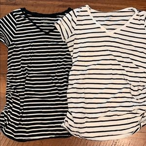 Pair of Black and White Maternity Tops